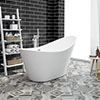 Nova 1570 Modern Small Free Standing Slipper Bath profile small image view 1