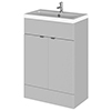Fusion Gloss Grey Mist 605x360mm Vanity Unit & Basin profile small image view 1