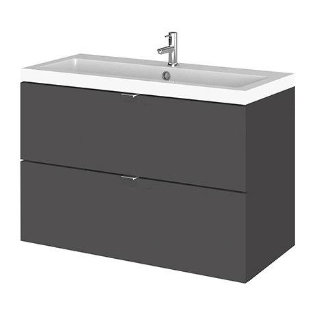 Fusion 800 Gloss Grey Full Depth Wall Hung 2-Drawer Vanity Unit & Basin