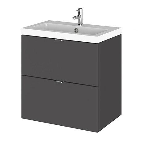 Fusion 500 Gloss Grey Full Depth Wall Hung 2-Drawer Vanity Unit & Basin