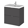 Fusion 500 Gloss Grey Full Depth Wall Hung 2-Drawer Vanity Unit & Basin profile small image view 1