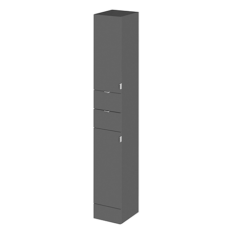 Fusion 300x355mm Gloss Grey Tall Free Standing Full Depth Tower Unit