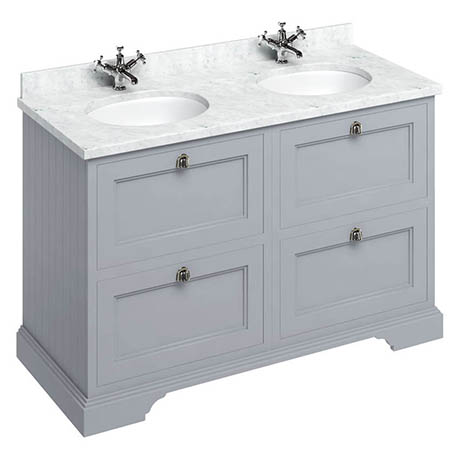 Burlington 130 4-Drawer Vanity Unit & Minerva Worktop with Double Basin - Classic Grey