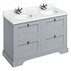 Burlington 130 4-Drawer Vanity Unit & Minerva Worktop with Double Basin - Classic Grey profile small image view 1