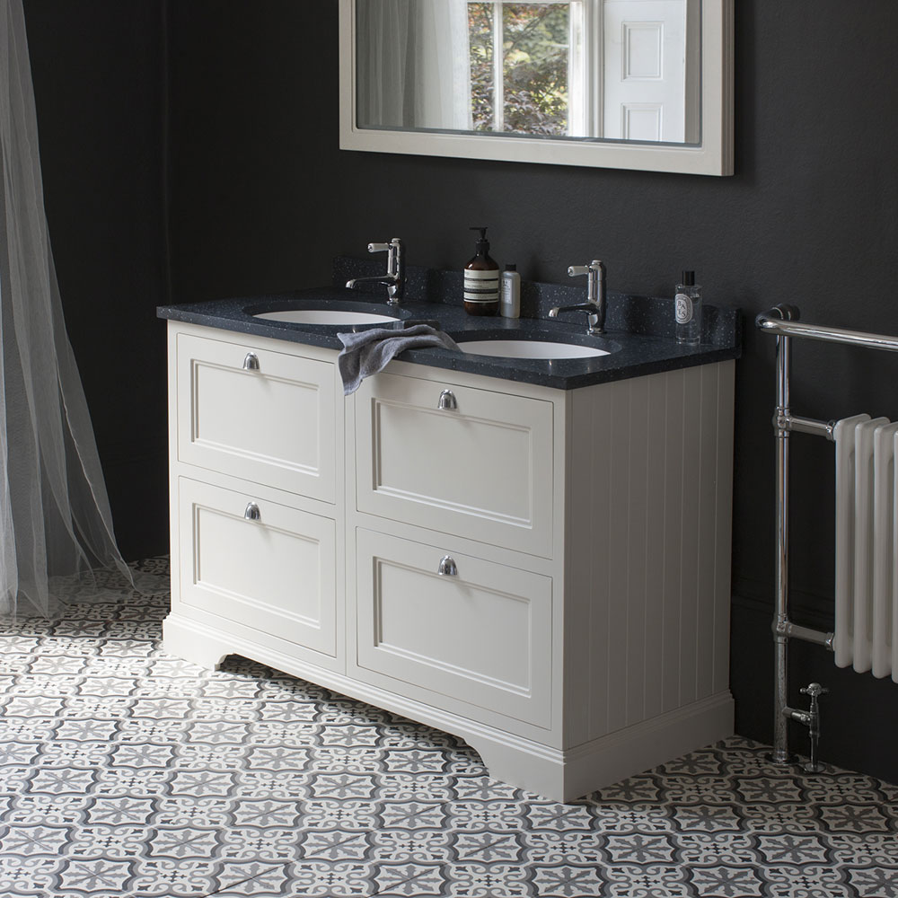 Burlington 130 4-Drawer Vanity Unit & Minerva Worktop with Double Basin - Dark Olive Feature Large Image
