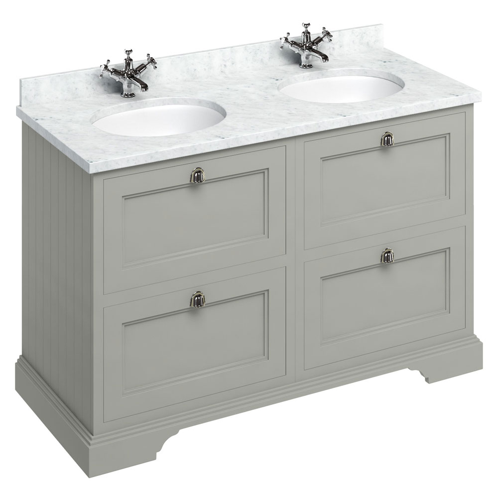 Burlington 130 4-Drawer Vanity Unit & Minerva Worktop with Double Basin - Dark Olive profile large image view 1