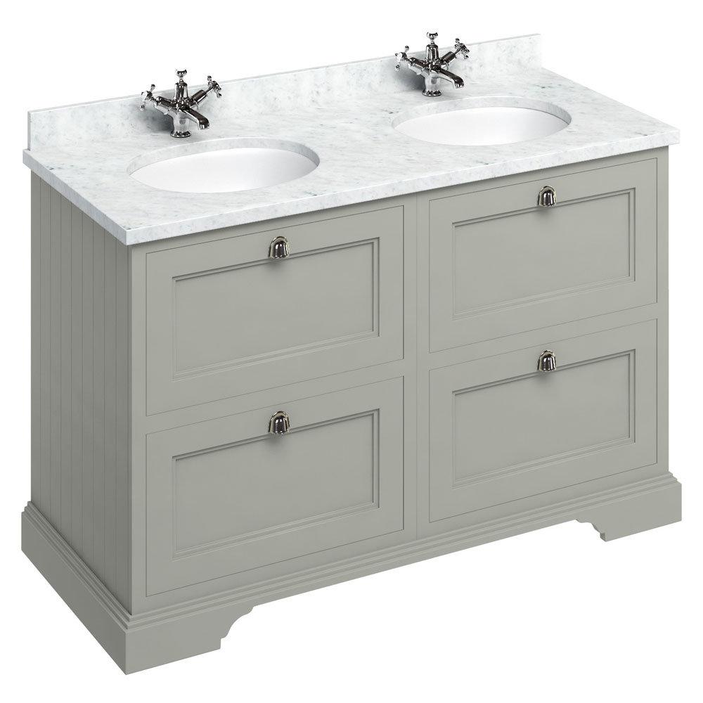 Burlington 130 4-Drawer Vanity Unit & Minerva Worktop with Double Basin - Dark Olive Large Image