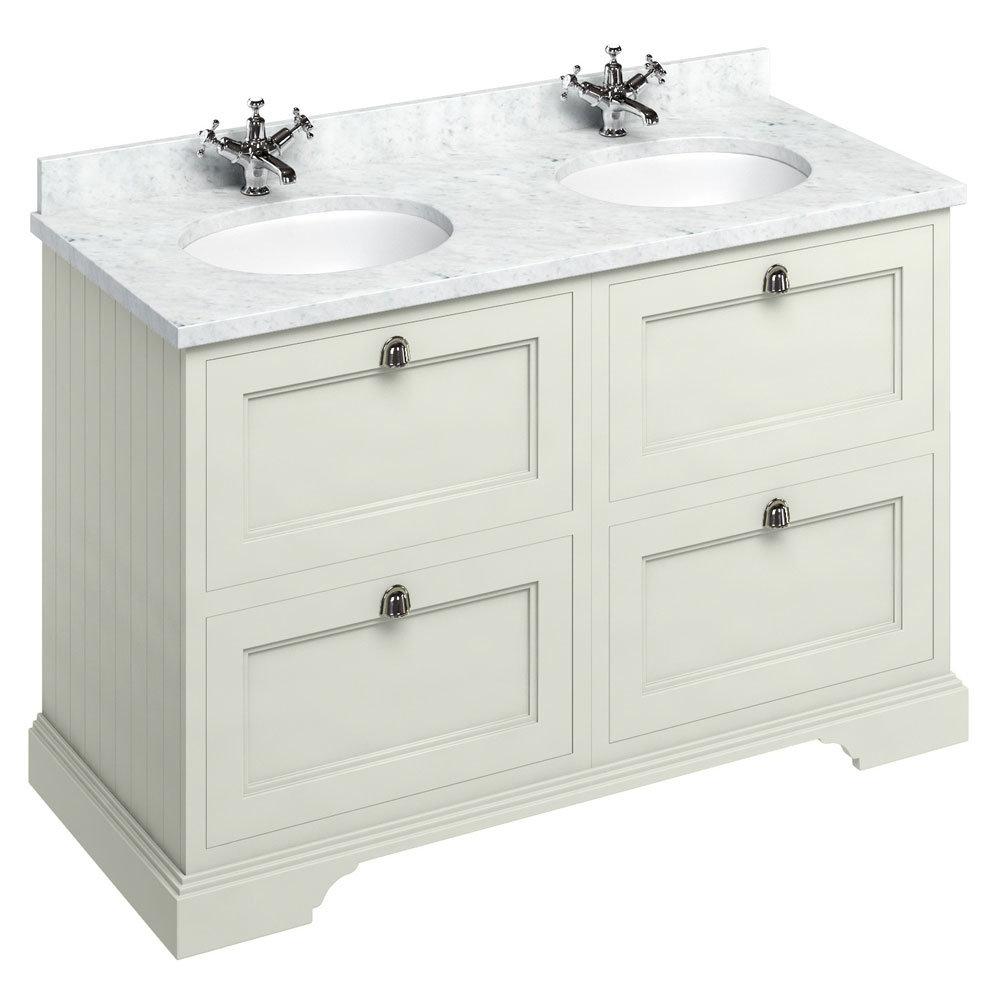 Burlington 130 4-Drawer Vanity Unit & Minerva Worktop with Double Basin - Sand Large Image