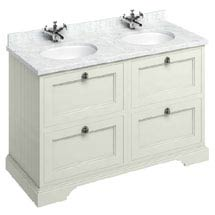 Burlington 130 4-Drawer Vanity Unit & Minerva Worktop with Double Basin - Sand Medium Image