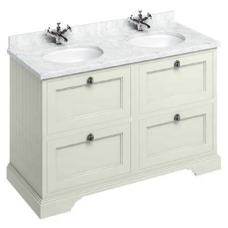 Burlington 130 4-Drawer Vanity Unit & Minerva Worktop with Double Basin - Sand