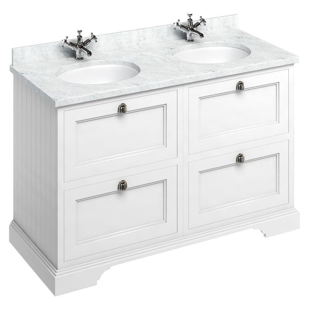 Burlington 130 4-Drawer Vanity Unit & Minerva Worktop with Double Basin - Matt White profile large image view 1