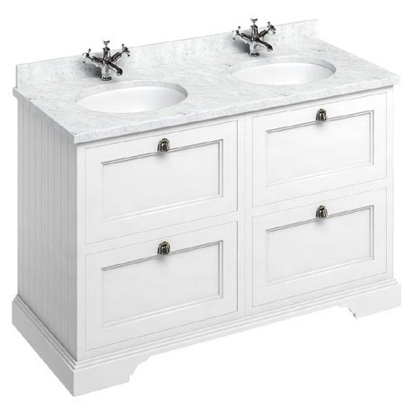 Burlington 130 4-Drawer Vanity Unit & Minerva Worktop with Double Basin - Matt White