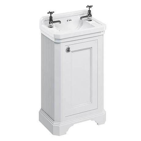 Burlington Freestanding Cloakroom Vanity Unit & Basin - Matt White