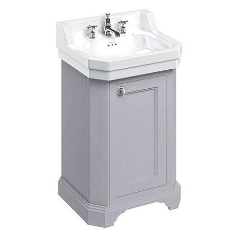 Burlington Edwardian 560mm 3TH Classic Grey Freestanding Cloakroom Vanity Unit & Basin