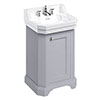 Burlington Edwardian 560mm Classic Grey Freestanding Cloakroom Vanity Unit & Basin profile small image view 1