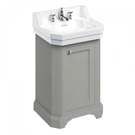 Burlington Edwardian 560mm 3TH Dark Olive Freestanding Cloakroom Vanity Unit & Basin