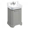 Burlington Edwardian 560mm 3TH Dark Olive Freestanding Cloakroom Vanity Unit & Basin profile small image view 1