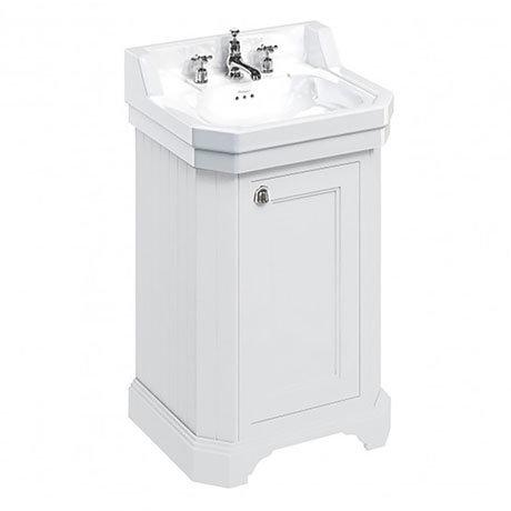 Burlington Edwardian 560mm 3TH Matt White Freestanding Cloakroom Vanity Unit & Basin