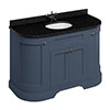 Burlington 134 4-Door Curved Vanity Unit & Minerva Black Granite Worktop with Basin - Blue profile small image view 1