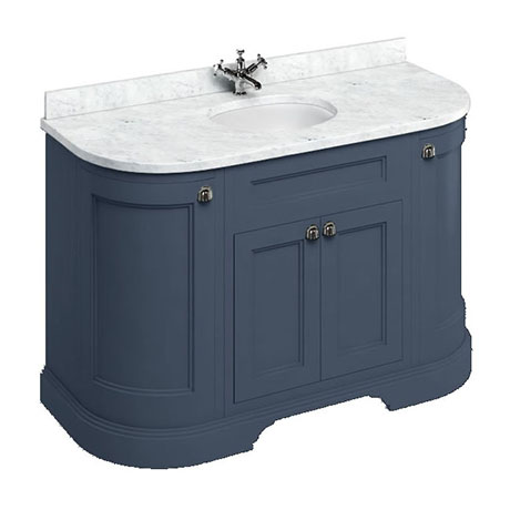 Burlington 134 4-Door Curved Vanity Unit & Minerva Carrara White Worktop with Basin - Blue