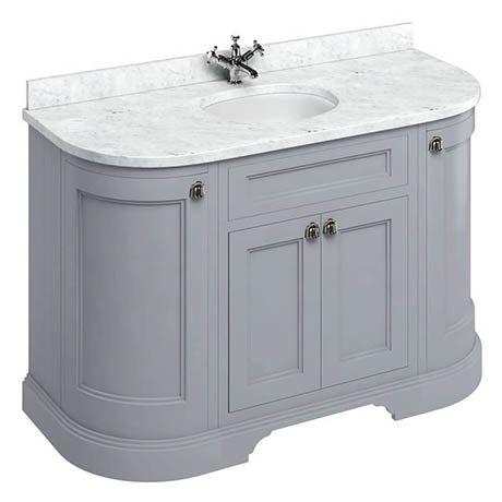 Burlington 134 4-Door Curved Vanity Unit & Minerva Worktop with Basin - Classic Grey