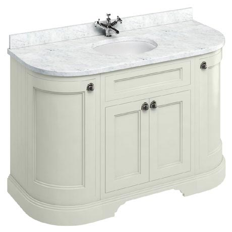 Burlington 134 4-Door Curved Vanity Unit & Minerva Worktop with Basin - Sand