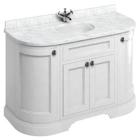 Burlington 134 4-Door Curved Vanity Unit & Minerva Worktop with Basin - Matt White