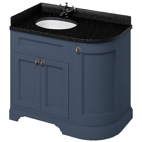 Burlington 100 3-Door Corner Vanity Unit & Minerva Black Granite Worktop with Basin (Blue - Left Han