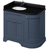 Burlington Floor Standing Corner Vanity Unit - Blue - Left Hand 1000mm with Black Granite Worktop profile small image view 1
