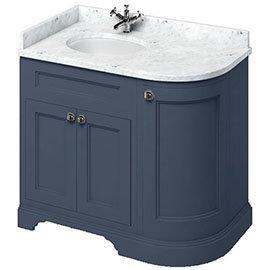 Burlington 100 3-Door Corner Vanity Unit & Minerva Carrara White Worktop with Basin (Blue - Left Hand)