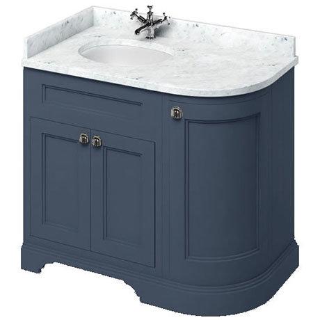 Burlington 100 3-Door Corner Vanity Unit & Minerva Carrara White Worktop with Basin (Blue - Left Han