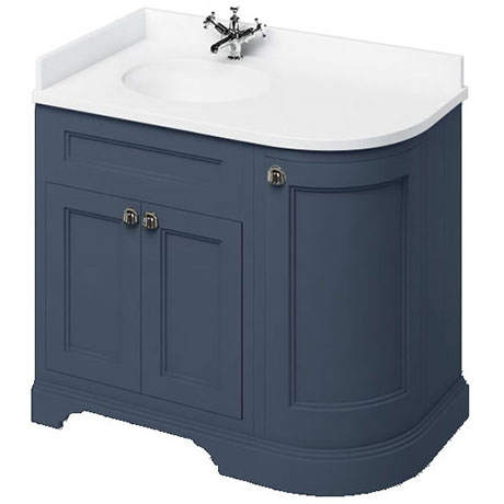 Burlington 100 3 Door Corner Vanity Unit Minerva White Worktop With Basin Blue Left Hand