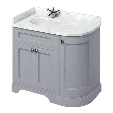 Burlington 100 3-Door Corner Vanity Unit & Minerva Worktop with Basin (Classic Grey - Left Hand)