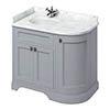 Burlington Floor Standing Corner Vanity Unit - Classic Grey - Left Hand 1000mm with Worktop profile small image view 1