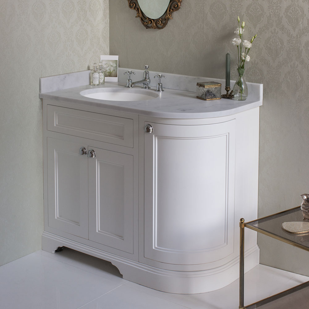 Burlington 100 3-Door Corner Vanity Unit & Minerva Worktop with Basin (Dark Olive - Left Hand) Standard Large Image