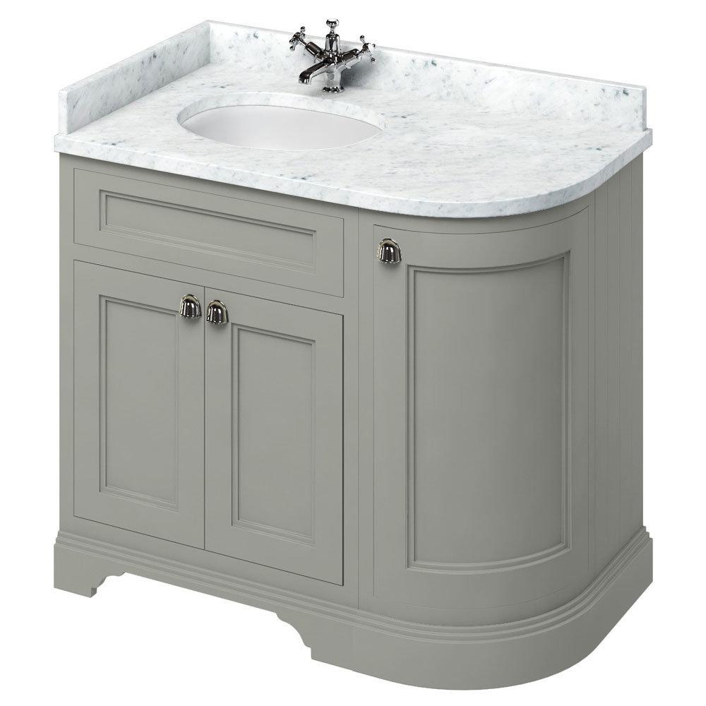 Burlington 100 3-Door Corner Vanity Unit & Minerva Worktop with Basin (Dark Olive - Left Hand) Large Image