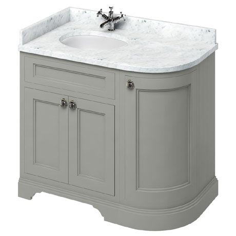 Burlington 100 3-Door Corner Vanity Unit & Minerva Worktop with Basin (Dark Olive - Left Hand)