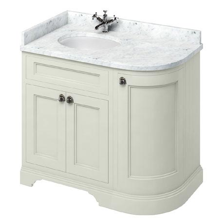 Burlington 100 3-Door Corner Vanity Unit & Minerva Worktop with Basin (Sand - Left Hand)