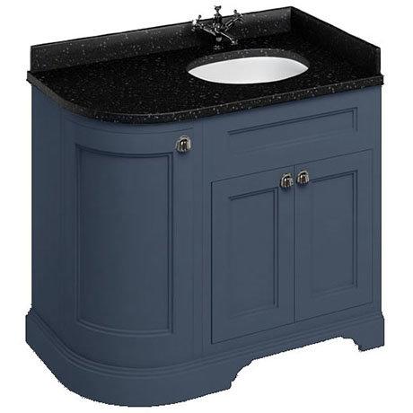 Burlington 100 3-Door Corner Vanity Unit & Minerva Black Granite Worktop with Basin (Blue - Right Ha