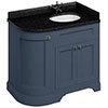 Burlington Floor Standing Corner Vanity Unit - Blue - Right Hand 1000mm with Black Granite Worktop profile small image view 1