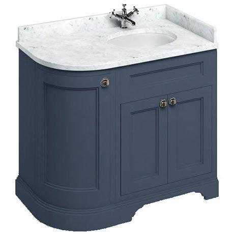 Burlington 100 3-Door Corner Vanity Unit & Minerva Carrara White Worktop with Basin (Blue - Right Ha