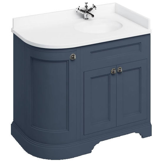 Burlington Floor Standing Corner Vanity Unit - Blue - Right Hand 1000mm with Minerva White Worktop