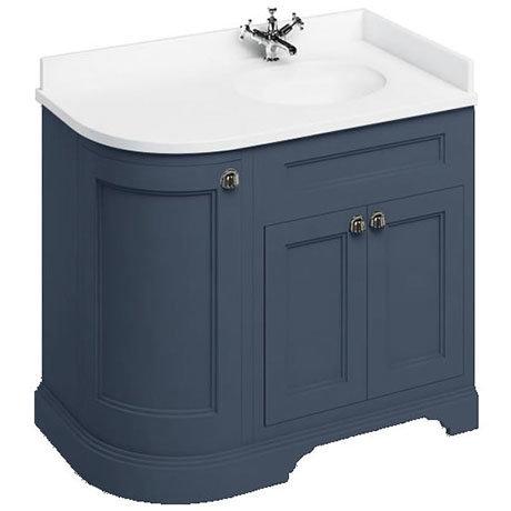 Burlington 100 3-Door Corner Vanity Unit & Minerva White Worktop with Basin (Blue - Right Hand)