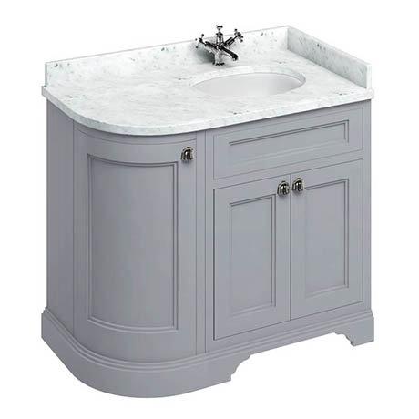 Burlington 100 3-Door Corner Vanity Unit & Minerva Worktop with Basin (Classic Grey - Right Hand)