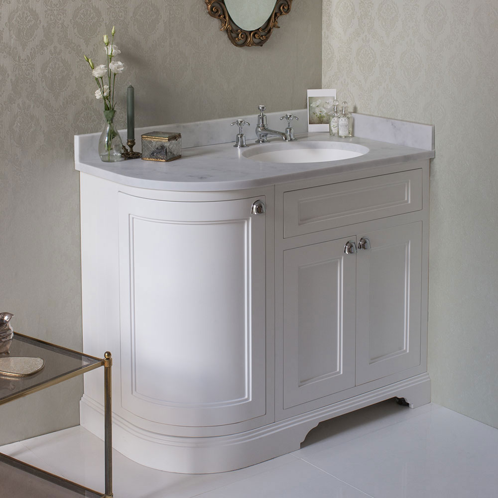 Burlington 100 3-Door Corner Vanity Unit & Minerva Worktop with Basin (Matt White - Right Hand) Stan