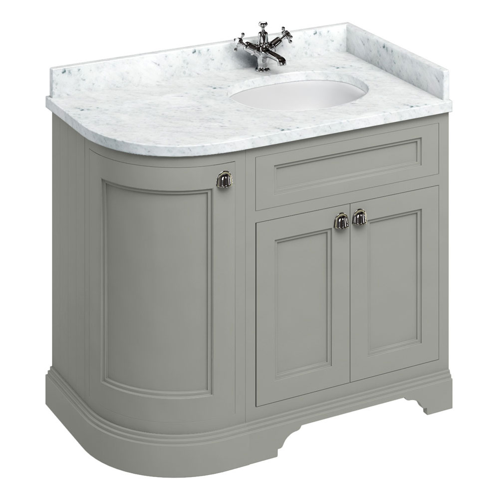 Burlington 100 3-Door Corner Vanity Unit & Minerva Worktop with Basin (Dark Olive - Right Hand) Large Image