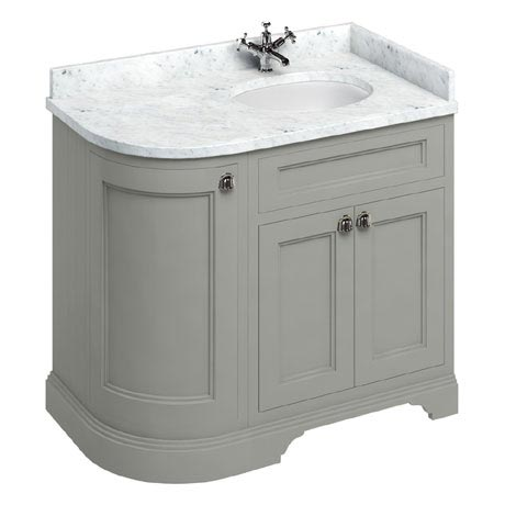 Burlington 100 3-Door Corner Vanity Unit & Minerva Worktop with Basin (Dark Olive - Right Hand)