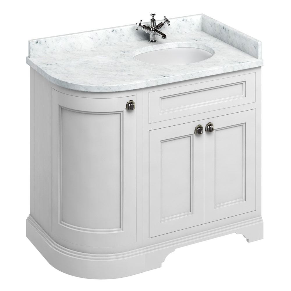 Burlington 100 3-Door Corner Vanity Unit & Minerva Worktop with Basin (Matt White - Right Hand) Larg