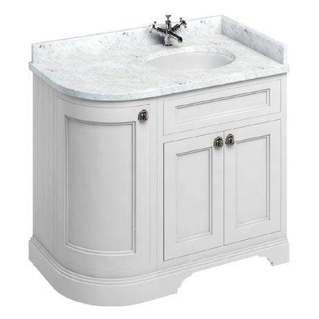 Burlington 100 3-Door Corner Vanity Unit & Minerva Worktop with Basin (Matt White - Right Hand)