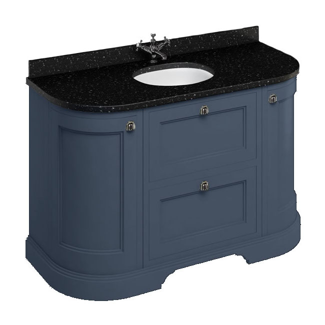 Burlington 134 2-Door/Drawer Curved Vanity Unit & Minerva Black Granite Worktop with Basin - Blue